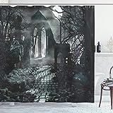 ゴシックシャワーカーテン、中世の建物の遺跡の上にある満月の夜の遺跡暗い怖い背景中世のイメージフック付きポリエステル防水生地 200X180 CM