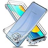 Reshias Funda para Samsung Galaxy M32 4G Carcasa + 2 Piezas Cristal Templado Protector de Pantalla, Suave TPU Transparente Silicona Anti Caída Phone Case Cover 6,4'