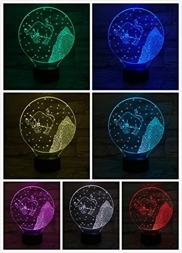 Nachtlampje Twaalf Sterrenbeeld Taurus-touch Klein Nachtlampje 7 Kleuren Touch Optische Foto Tafel Decoratie Lamp, Geschikt Voor Slaapkamer Bar Sfeerlamp