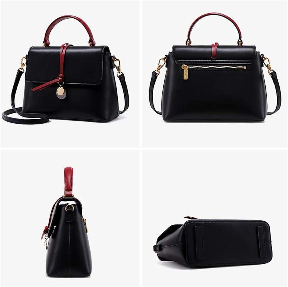 Nouvelle Mode coréenne en Cuir Kelly Bag Messenger Sac à Main Sac à bandoulière (Couleur : Beige) Noir