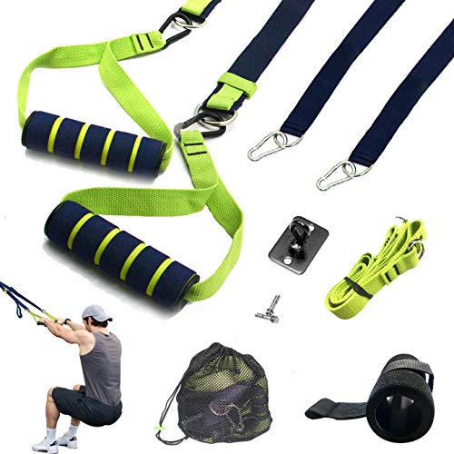 BONAFitness Bodyweight Resistance Trainer Kit -Powerlifting Strength Training Straps with Extension Strap,Door Anchor,Wall Mount,Mesh Storage Bag for Total Body Workouts, Gym,Home & Travel