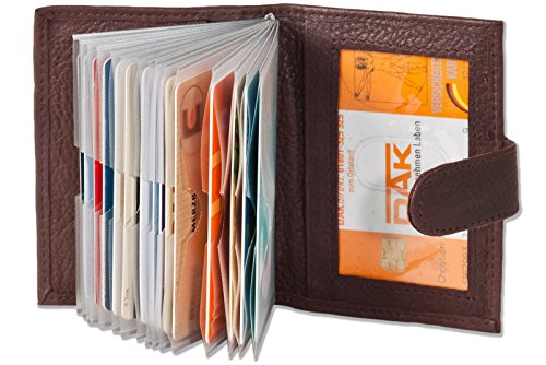 Ledershop24 XXL 23 Fächer Kreditkartenetui Kartenetui Visitenkartenetui Aubergine Leder