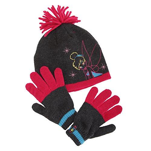 Disney - Conjunto de gorro y guantes de Campanilla para niña (4-8 años/Gris/fucsia)