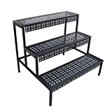aboxoo 3 Tier Stair Style Large Metal Plant Stand, Garden Display Shelf Flower Pot Holder Storage Organizer Rack for Indoor Home Outdoor Patio Balcony Yard(Black, Rectangle)