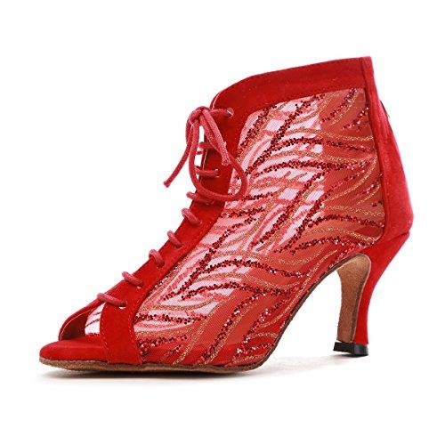 MINITOO Sala Practice Donna Cinturino a t Maglia Rosso Brillantini Salsa Latin Scarpe da Ballo Nozze Sandali da Festa EU 40.5