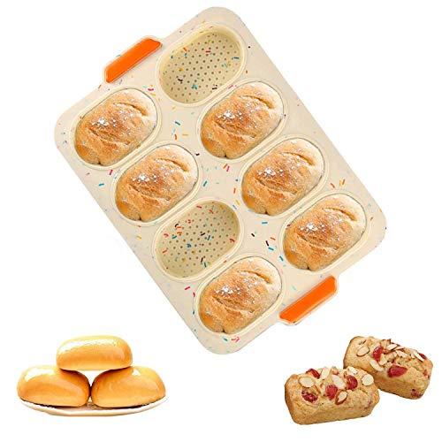 Mini Baguette Hornear Bandeja,Bandeja de horno mini baguette,Silicona Antiadherente Bandeja Perforada,perforada Pan crujiente,para Francés Pan, Pan Palos y Pan Rollos (Vistoso)