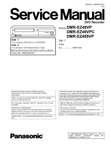 Panasonic DMREZ48V DMREZ48V DMR-EZ48V Service Manual