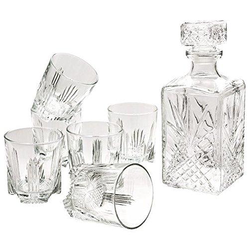 Selecta Licoreira/Copos Whisky Vidro com 7 Peças Lapidado Bormioli Rocco Transparente