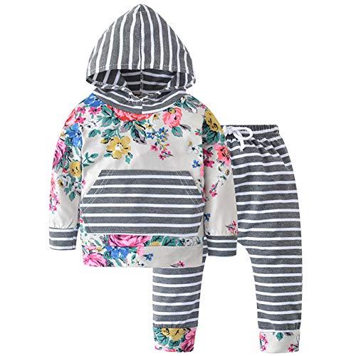 Infant Baby Hoodie, Infant 2Pcs Kleidung Set Kleinkind Baby Girl Outfit Print Streifen Langarm Hoodie Top Sweatshirt Hosen zum Spielen im Freien,Halloween-Party,Geburtstagsfeier,Baby Fotografie