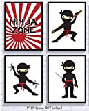 Silly Goose Gifts Ninja Zone Star Red White Black Wall Art Decor (Set of Four) Room Decoration