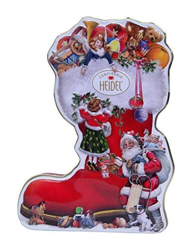 Heidel Stivale Babbo Natale in Metallo con Cioccolatini al Latte Ripieni con Crema di Alta Qualità - 1 x 118 Gram