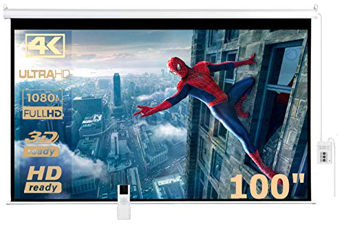 IMAdeMexico Pantalla para Proyector Electrica 100' (2.54 Metros), Formato HD 16:9, Gain 1.3, 3D-4K Ready, Control Remoto
