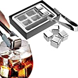 SNOWCUBS Whiskey Stones Gift Set,Reusable Stainless Steel Ice Cubes,Metal Whisky Chilling Rocks