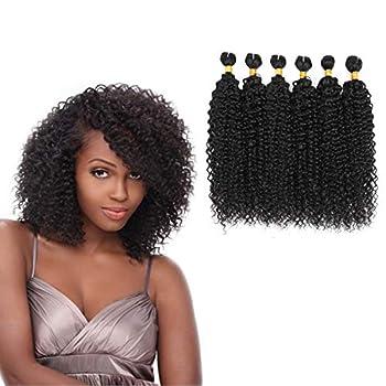 Brazilian Jerry Curl Hair Bundles 8  6 Bundles 90% Human Hair Blend Bundles Curly Weave Hair Extensions Black Color  8 8 8 8 8 8