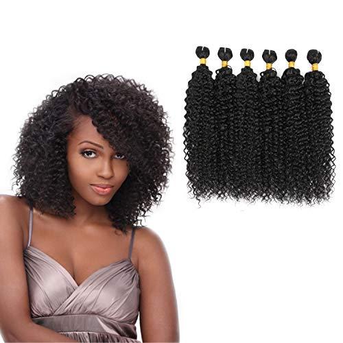 Brazilian Jerry Curl Hair Bundles 8' 6 Bundles 90% Human Hair Blend Bundles Curly Weave Hair Extensions Black Color (8'8'8'8'8'8')