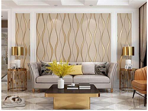3D Papel Pintado No Tejido Caqui mural Papel Pintado Curva de ondulación del agua flocada Arte Moderno Diseño Salón TV Fondo De Pantalla Papel Tapiz para Las Paredes del Dormitorio