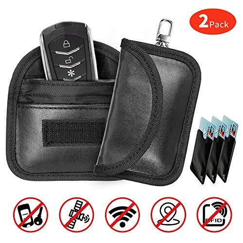 JUCERS 2 STK Mini Keyless Go Schutz Autoschlüssel + 3 X RFID Blocker Schutzhüllen für Kreditkarten, Verhindern Sie den Diebstahl Ihres Autos, Autoschlüssel Hülle RFID/NFC/WLAN/GSM/LTE Blocker
