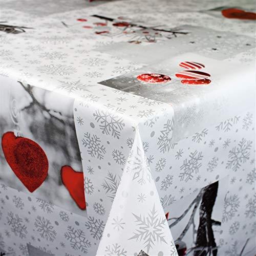 KEVKUS Wachstuch Tischdecke Meterware C141251 Weihnachten Herzen Weihnachtskugeln Schneeflocken rot wählbar in eckig rund oval (Rand: Schnittkante, 120 x 140 cm eckig)