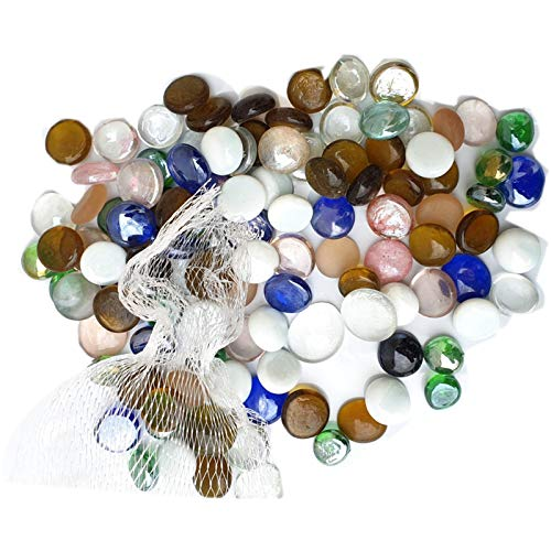 MSM Glass Beads Pebbles Stones Nuggets for Vases Crafts Home Decor Aquarium Mosaic Flat Bottom, Round Top Multicolor
