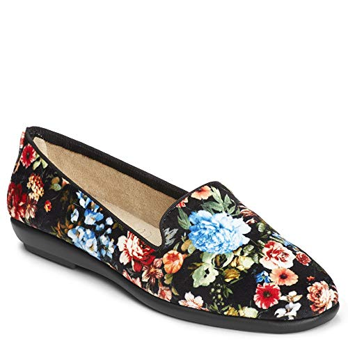 Aerosoles Women's Betunia Slip-On Loafer, Black Floral, 6.5 W US