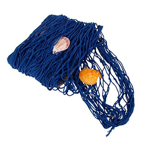 Rete da pesca decorativa, vintage, dotata di pesci e conchiglie Blue