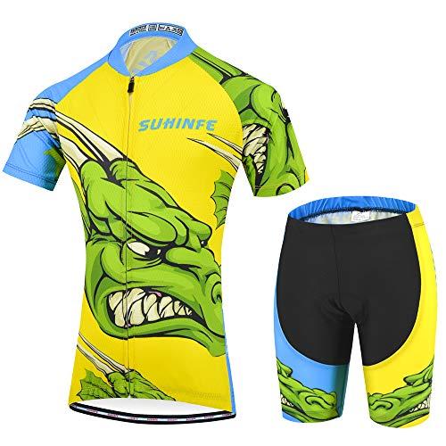 Radsport-Bekleidung für Jungen, Karikatur Rennrad Trikot Kinder mit Radhose mit Sitzpolster für MTB und Pro Team, Sommer (2XS, Krokodil)