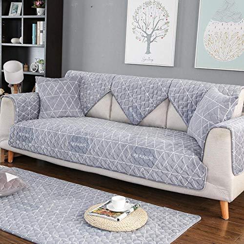 YUTJK Housse de Canapé d'angle avec Accoudoirs Housse de Canapé Modèle L Canapé Protecteur Évolutif,Coussins de canapé en Flanelle imprimée,pour canapés en Cuir,Gris