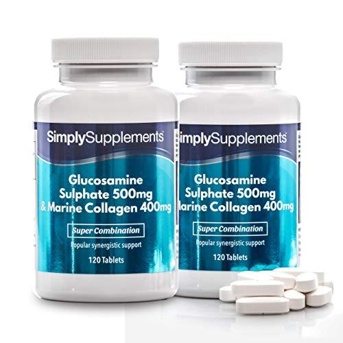 Glucosamine 500mg & Collagène Marin 400mg| 240 Comprimés | Jusqu'à 8 mois de bienfaits |SimplySupplements