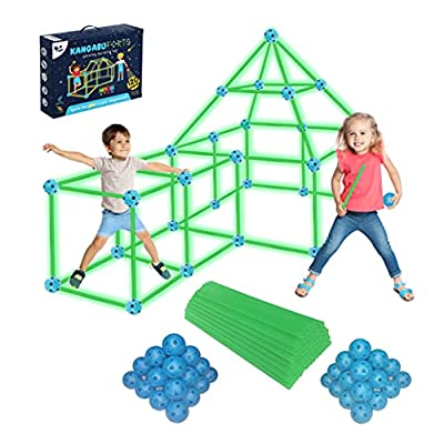 KANGABU Glow Fort Building Kit 120 Pieces STEM Learning Playhouse for Kids Outdoor Building Toys for 5 6 7 8 9 10 Year Old Boys Girls Glow in The Dark from Zabu LLC