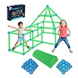KANGABU Glow Fort Building Kit 120 Pieces STEM Learning Playhouse for Kids Outdoor Building Toys for 5 6 7 8 9 10 Year Old Boys Girls Glow in The Dark
