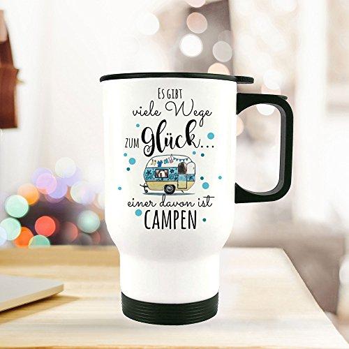 ilka parey wandtattoo-welt® Thermobecher Camping Thermotasse Thermosflasche Kaffeebecher Becher Wohnwagen mit Punkten & Spruch viele Wege zum Glück. campen tb095