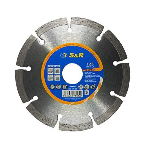 S&R Diamanttrennscheibe Segment Standard, für UNIVERSAL, lasergeschweißt, Trockenschnitt (Durchmesser 125 mm)