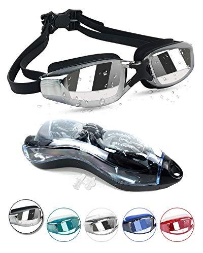 Kodior Schwimmbrille - Schwimmbrillen für Erwachsene Anti-Fog mit Antibeschlag und UV Taucherbrille für Männer Frauen Erwachsene Unisex Training Freizeit (Schwarz)