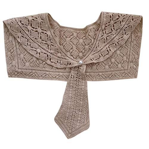 NKDD, Chal de Verano con Cuello Falso para Mujer, Chal de Punto de Ganchillo, Corbata, botón, Media Camisa, Chal para Mujer, Camel