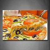 NIMCG Cuadros de Arte de Pared Pizza Deliciosa Impresión en Lienzo Comida Carteles Modernos con para la decoración de la Sala de Estar en el hogar (Sin Marco) R1 50x70CM