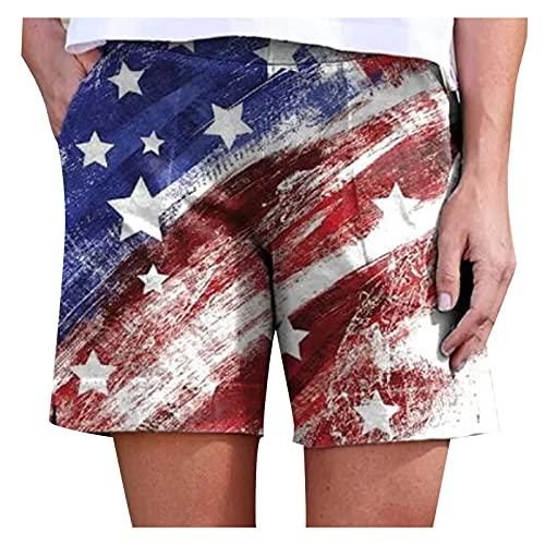 EUCoo Pantalones cortos elásticos casuales para mujer, para verano, playa, bandera americana, 4 de julio, pantalones cortos sueltos con bolsillo