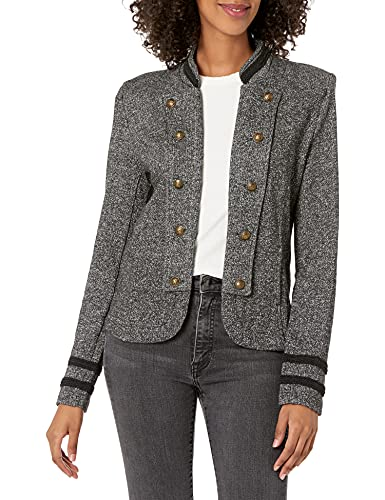 Tommy Hilfiger Women's Classic Tommy Open Front Band Jacket, Black Multi, Large