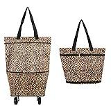 Bolsa plegable con ruedas, carrito de la compra plegable con ruedas, carrito de la compra reutilizable, 2 – 1 carrito de la compra para el hogar, supermercado, bolsa de alta capacidad leopardo