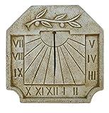 Catart Reloj de sol en hormigón-piedra para pared exterior con una Rama de Olivo en La Parte Superior de 39X39cm. | Reloj de sol Jardín Vertical de hormigón-piedra artificial, Color Marrón
