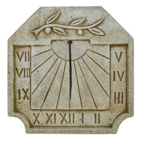 Catart Reloj de sol en hormigón-piedra para pared exterior con una Rama de Olivo en La Parte Superior de 39X39cm.   Reloj de sol Jardín Vertical de hormigón-piedra artificial, Color Marrón