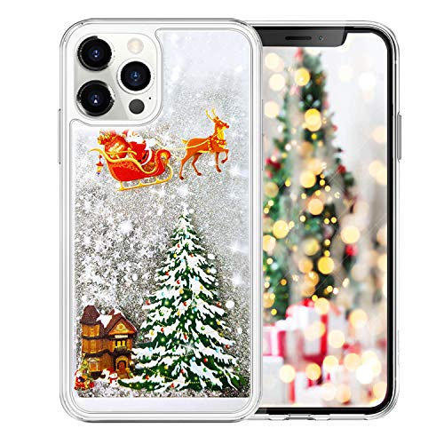 LUVI Compatible with iPhone 12 Pro Max Case Christmas Bling Glitter Liquid Cute Sparkle Moving Quicksand Waterfall Shiny Luxury Fashion Cover Rudolph Santa Claus Deer Tree Case 6.7 inch Silver