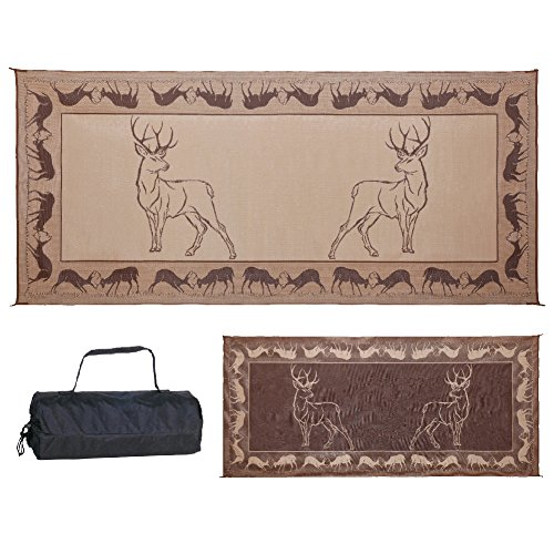 Stylish Camping PE1 Black /Brown/Beige 8-Feet x 18-Feet Deer Mat