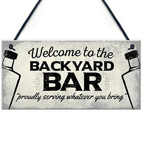 RED OCEAN Backyard Bar Garden Hanging Plaque Alcohol Man Cave Vintage Beer Gin Shed Sign Decor Gift