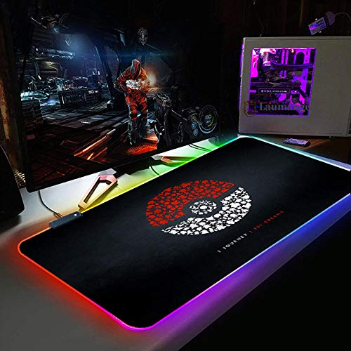Mouse Pads Cartoon Fairy Tale Logo XXL RGB Gaming Mouse Mat Pad XXXL Extended Large LED Mousepad 14 Multi Colors and Effect Modes Non-Slip Rubber Base Computer Keyboard Mice Mat for PC 11.81'x27.56'
