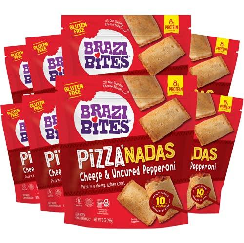 Brazi Bites Cheese & Pepperoni Pizza'nadas   Gluten-Free I Grain-Free I Soy-Free   Frozen Pizza Bites   No Artificial Ingredients   No Preservatives   10 oz. pouches (8-pack)