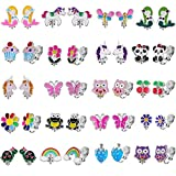 20 Pairs Kids Clip on Earrings for Girls - Cute Animal Clipon Earrings Pack for Little Girls - Colorful Flower Clip-on Earrings Set for Teens Girls -Clip on Earrings for Kids Girls Birthday Gift(#1)
