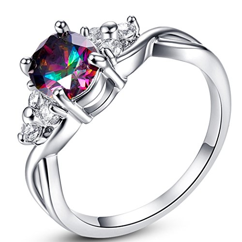Veunora 925 Sterling Silver Created Rainbow Topaz Filled Infinity Engagement Ring for Women Size 6