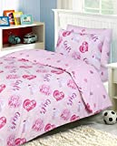 Divine Textiles - 100% Cotton Kids Childrens Bedding Set Reversible Duvet Cover With Pillowcases and Matching Fitted Sheet, Girls Rule - Single Complete Set