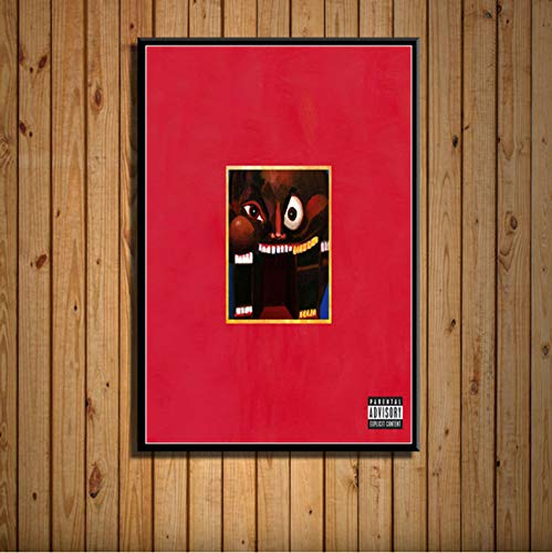 zpbzambm Frameless Wall Painting 40X50Cm - My Beautiful Dark Twisted Fantasy Kanye West Music Album Cover Hip Hop Art Silk Painting Canvas Wall Poster Home Decor Zp-1340