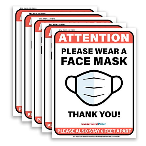 Please Wear Face Mask Sign Poster Laminated 8.5x11 (5 Pieces)